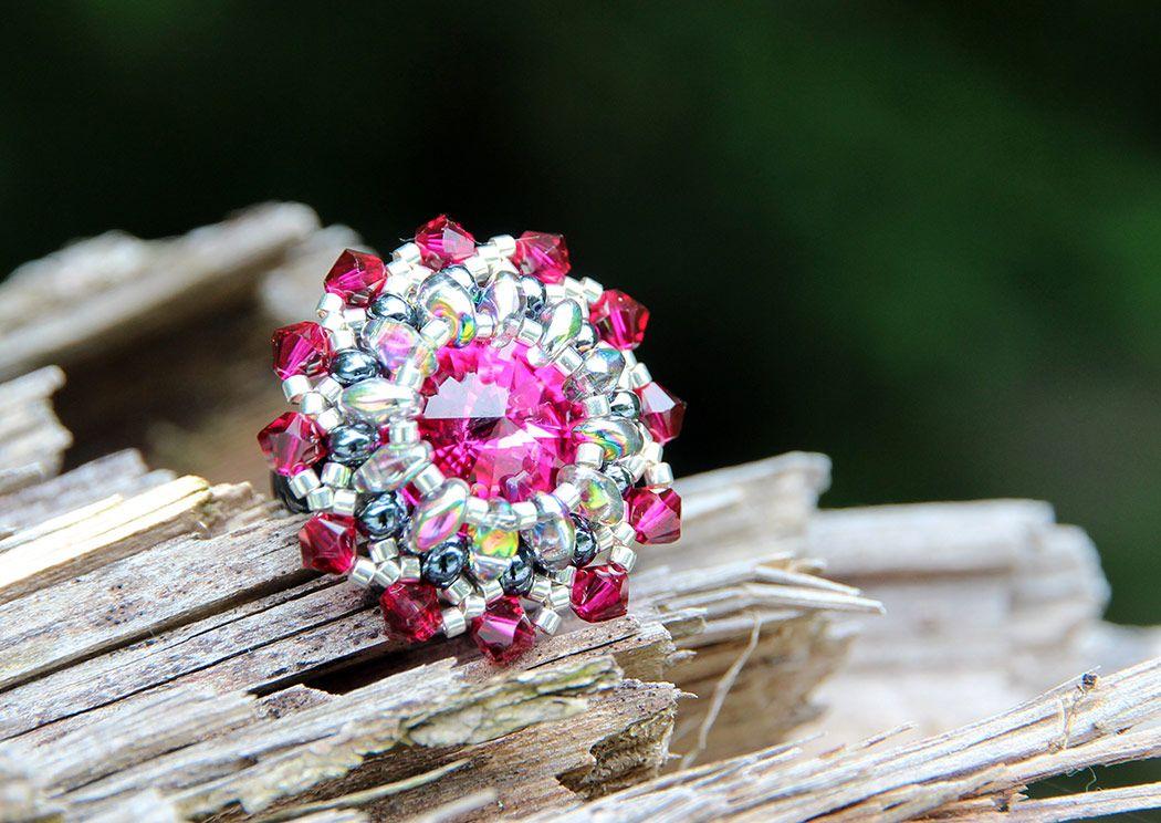 Prstan s kristali Swarovski, Mountain Pearls by Nataša Hozjan Kutin