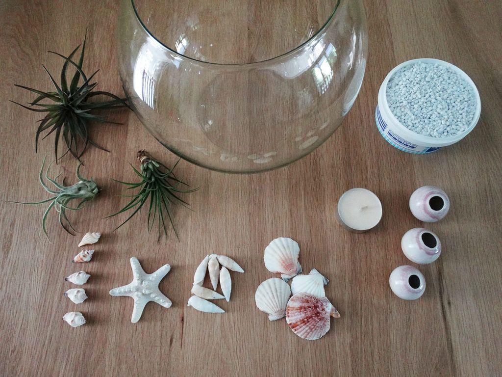Dekoracija v stekleni bučki - potrebščine
