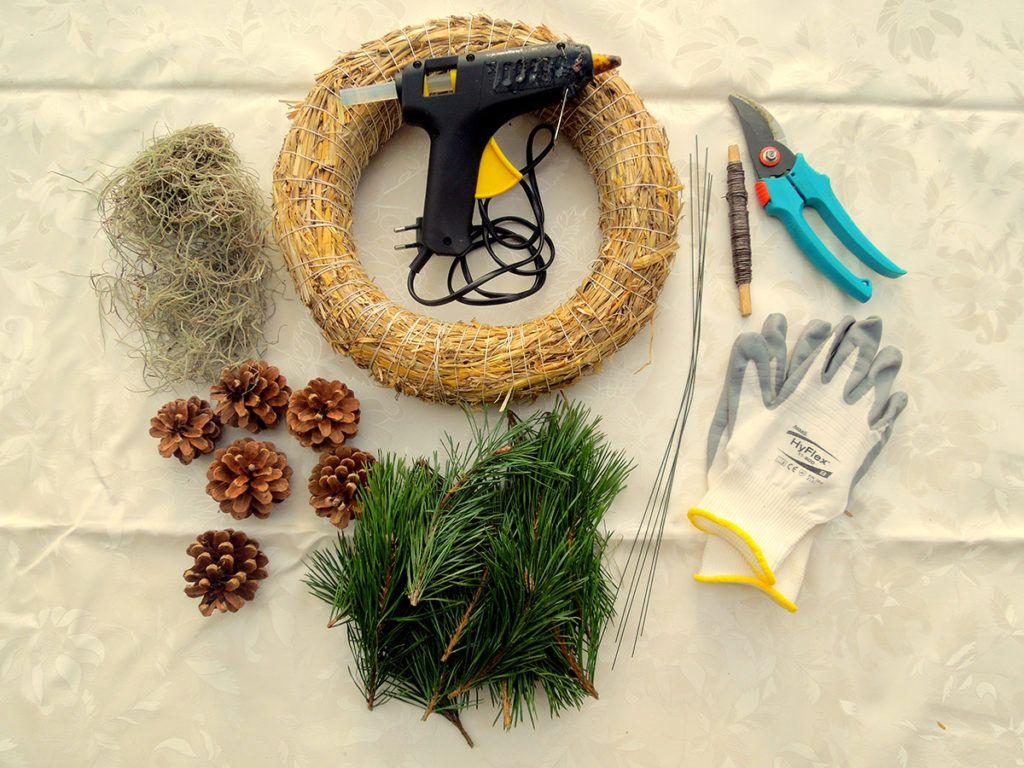 DIY: Zimzelen borov venček – potrebščine