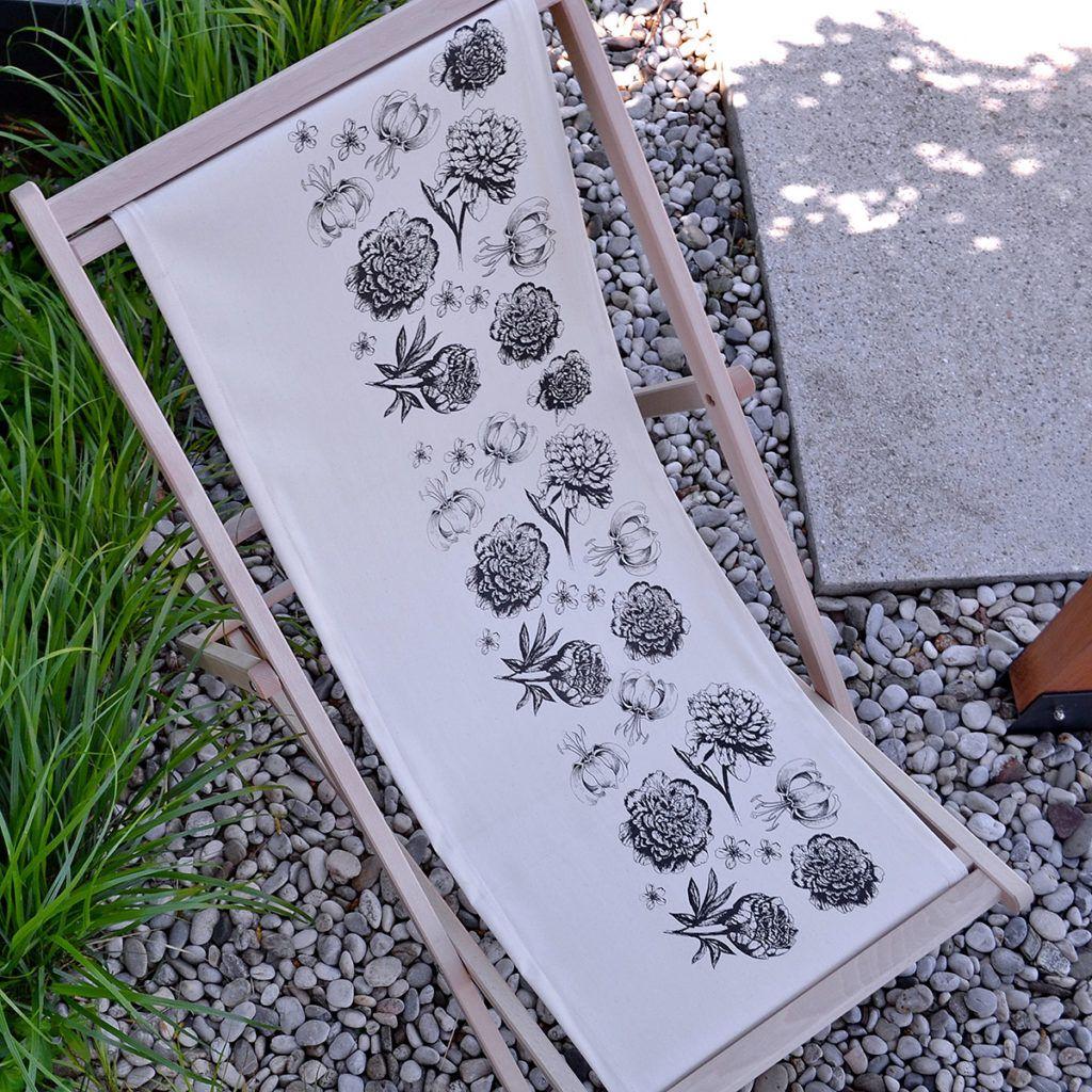 Ročno tiskani vrtni ležalniki iz Jagababe