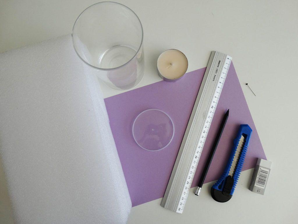 DIY: Mandala na svečniku iz papirja – potrebščine