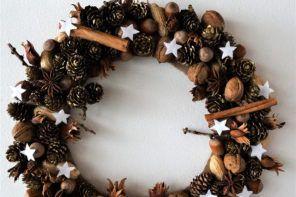 DIY: Naravni venček z belimi zvezdami