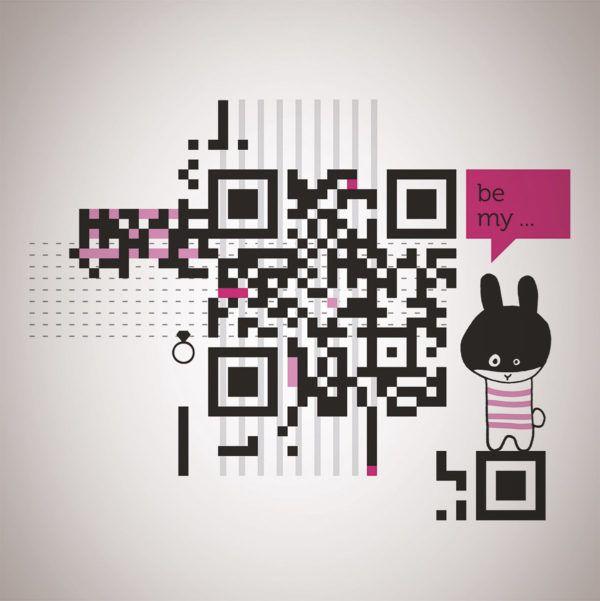 Broške s kodo QR, v kateri so skrita pomenljiva sporočila